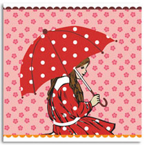 Birthday Card KatyJane Designs Umbrella girl